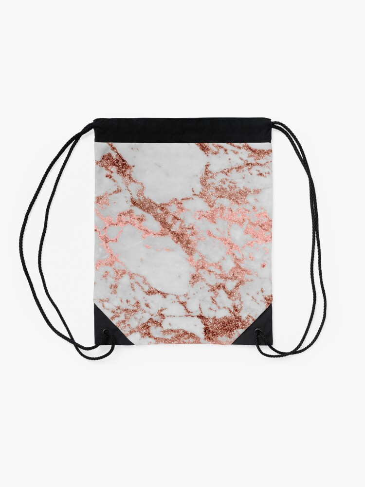 Alternate view of Stylish white marble rose gold glitter texture image Drawstring Bag