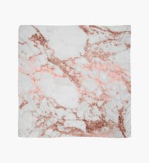 Stylish white marble rose gold glitter texture image Scarf