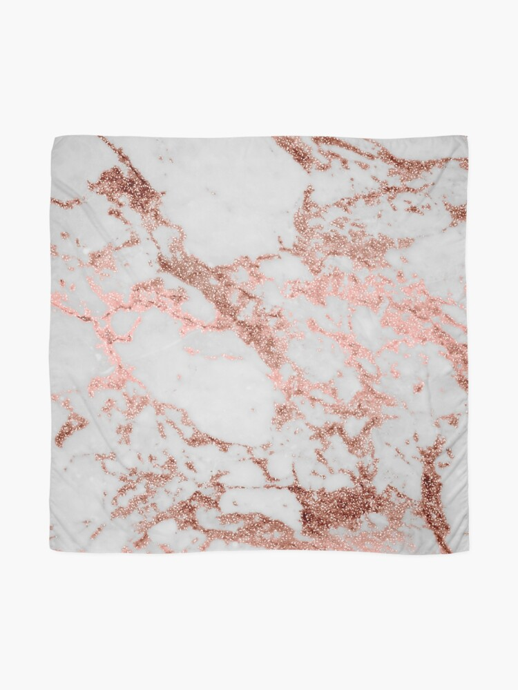 Alternate view of Stylish white marble rose gold glitter texture image Scarf