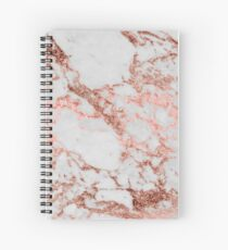 Stylish white marble rose gold glitter texture image Spiral Notebook