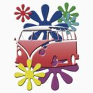VW BUS with hippie flowers RED version by thatstickerguy
