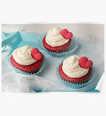 Heart cupcakes for Valentine's Day Poster