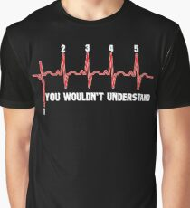Motorcycle Shirt - Heartbeat Motorcycle Shirt - 1 Down 5 up Graphic T-Shirt