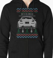 Ugly Sweater Christmas Nissan 350Z Z33 (White) Zipped Hoodie