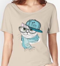 Fashion Cat in a cap,scarf and glasses Women's Relaxed Fit T-Shirt