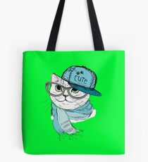 Fashion Cat in a cap,scarf and glasses Tote Bag