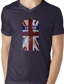 Union Jack TARDIS with Gallifreyan  Mens V-Neck T-Shirt