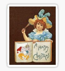 A Victorian Merry Christmas, girl with pencils  Sticker