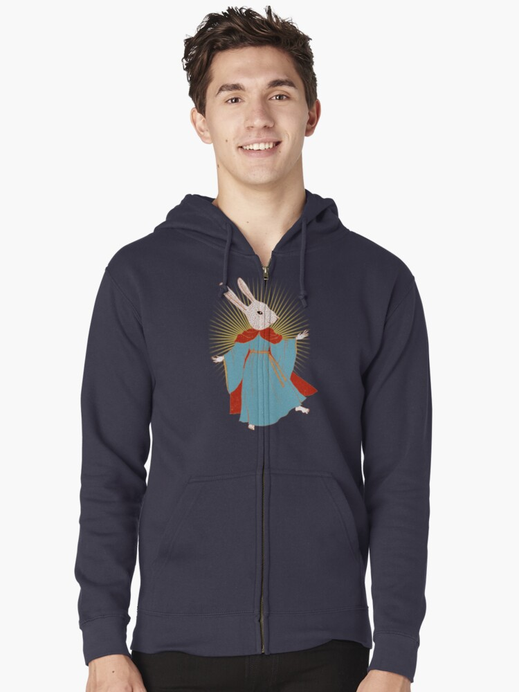 Saint Bunny has your back Zipped Hoodie Front
