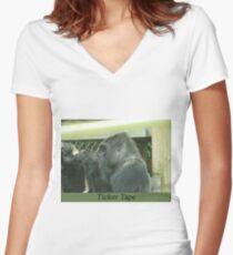 Ticker Tape Women's Fitted V-Neck T-Shirt