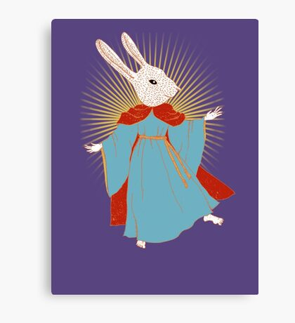 Saint Bunny has your back Canvas Print