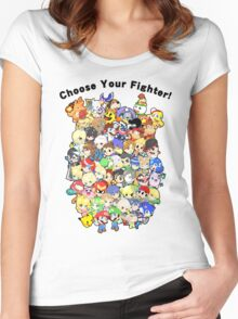 Super Smash Bros. All 58 Characters! Choose Your Fighter!! Group Women's Fitted Scoop T-Shirt