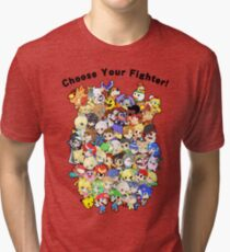 Super Smash Bros. All 58 Characters! Choose Your Fighter!! Group Tri-blend T-Shirt