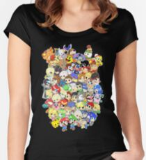 Super Smash Bros. All 58 Characters! Group Women's Fitted Scoop T-Shirt