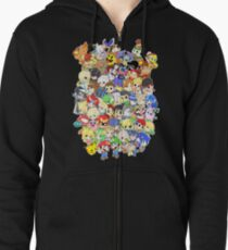 Super Smash Bros. All 58 Characters! Group Zipped Hoodie