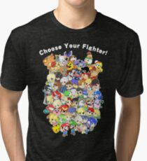 Super Smash Bros. All 58 Characters! Choose Your Fighter! Group Tri-blend T-Shirt