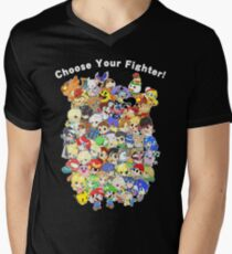 Super Smash Bros. All 58 Characters! Choose Your Fighter! Group Men's V-Neck T-Shirt