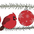 Red Cardinal and Ornaments by kaenith