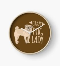 Crazy Pug Lady Clock