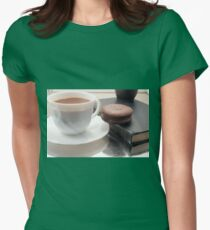 White cup of hot chocolate and cookies Womens Fitted T-Shirt