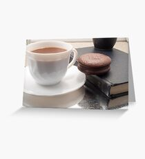 White cup of hot chocolate and cookies Greeting Card