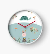 A Pastel Tortoise and Hare Story Clock