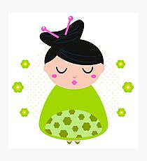 Cute beautiful spring Geisha : Floral green Photographic Print