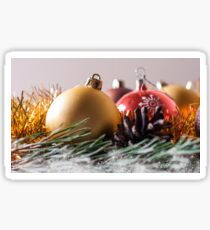Spruce branches and Christmas balls. Sticker