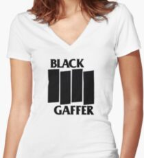 Black Gaffer Women's Fitted V-Neck T-Shirt