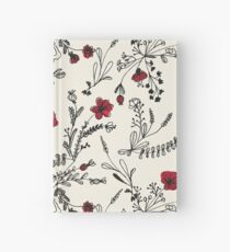 Red Flower Pattern Hardcover Journal
