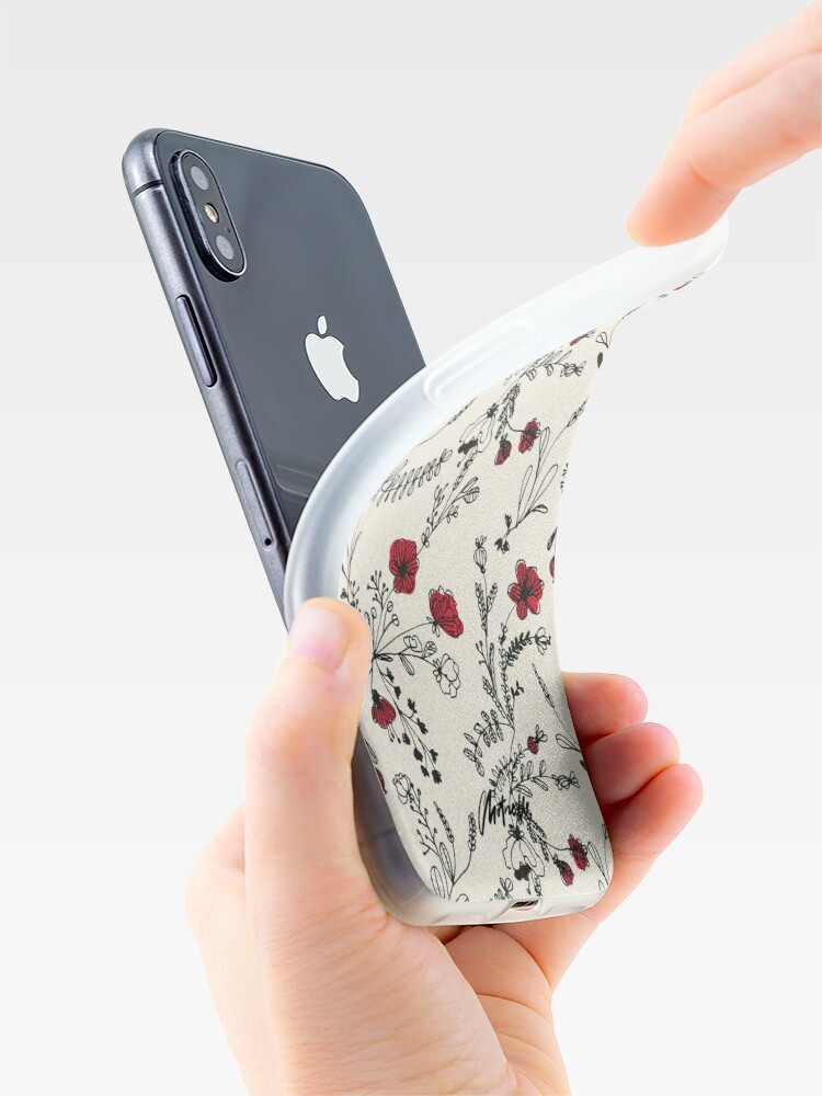 Alternate view of Red Flower Pattern iPhone Case & Cover