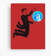 Tesla and the Pigeon Canvas Print