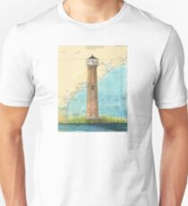 Aransas Pass Lighthouse TX Nautical Map Cathy Peek Unisex T-Shirt