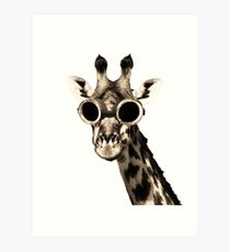 Giraffe With Steampunk Sunglasses Goggles Art Print