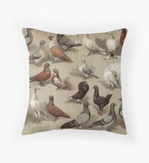 Vintage Pigeon Breeds Chart Throw Pillow
