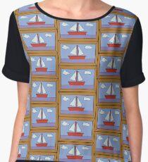 Sail Boat Artwork Women's Chiffon Top