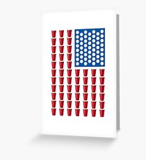 Beer Pong Drinking Game American Flag Greeting Card