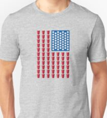 Beer Pong Drinking Game American Flag Unisex T-Shirt