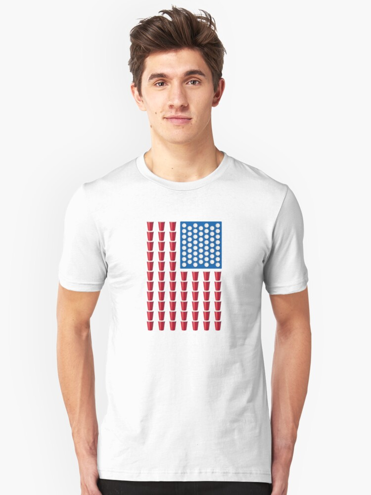 Beer Pong Drinking Game American Flag Unisex T-Shirt Front