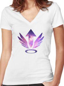 Mercy Logo - Galaxy Women's Fitted V-Neck T-Shirt
