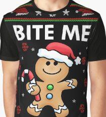 Cute BITE ME GingerBread Man Ugly Christmas Sweater Shirt Graphic T-Shirt