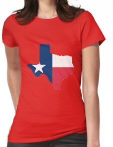 Texas outline with flag Womens Fitted T-Shirt