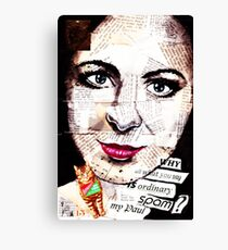 old book drawing famous people collage Canvas Print