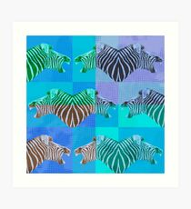 Be heard zebra shouting in blue Art Print