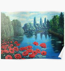 WATERLILIES ON A POND  Poster