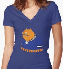 Glottis - Vvvvrrooom! Women's Fitted V-Neck T-Shirt