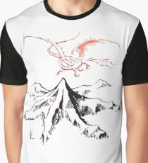 Red Dragon Above A Single Solitary Peak - Fan Art Graphic T-Shirt