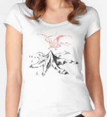 Red Dragon Above A Single Solitary Peak - Fan Art Fitted Scoop T-Shirt