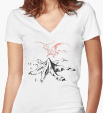 Red Dragon Above A Single Solitary Peak - Fan Art Women's Fitted V-Neck T-Shirt