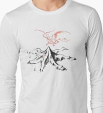 Red Dragon Above A Single Solitary Peak - Fan Art Long Sleeve T-Shirt